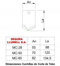 Dimensiones Cuchilla Modelo MC